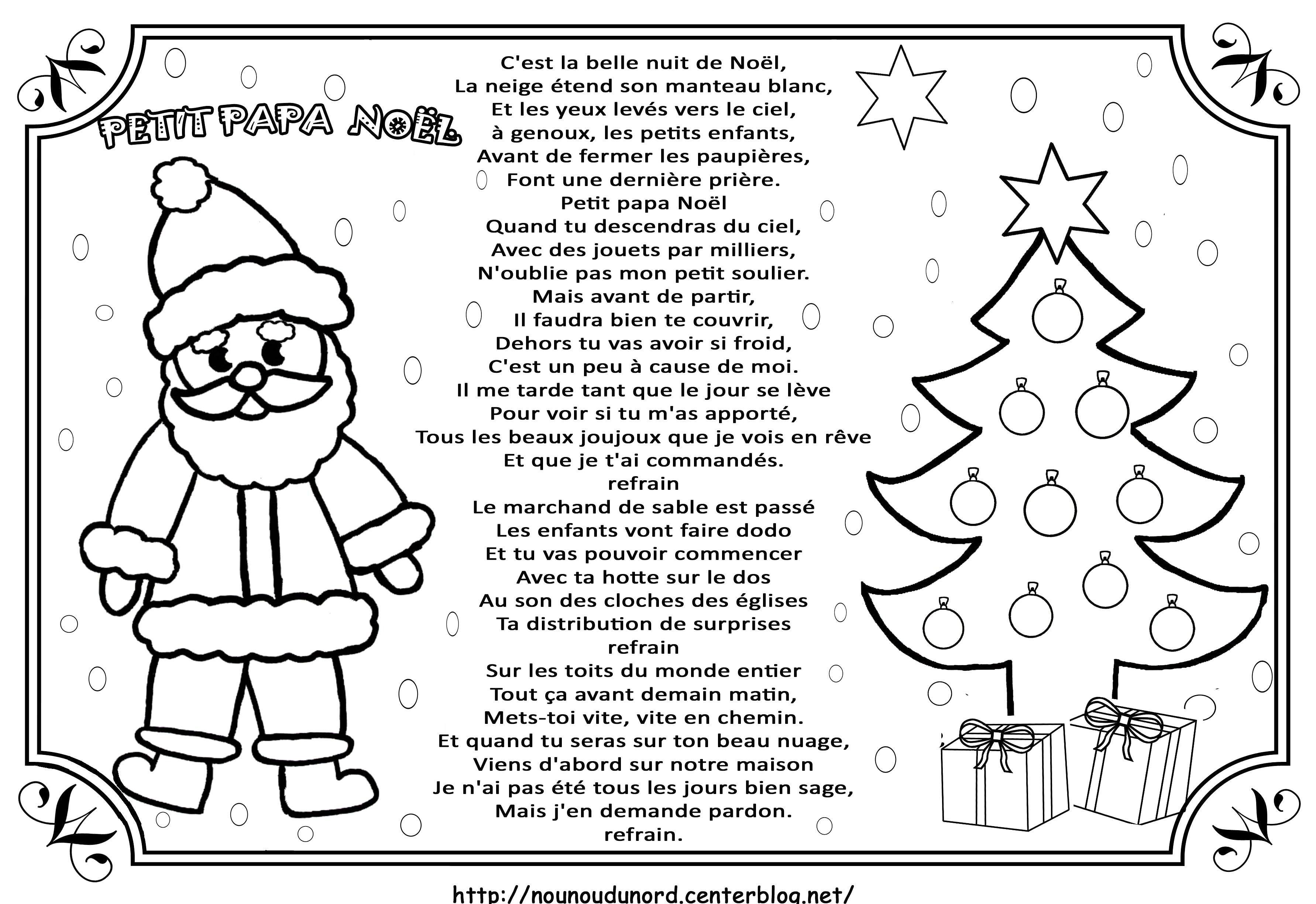 Chanson Petit Papa Noël intérieur Papa Noel Parole