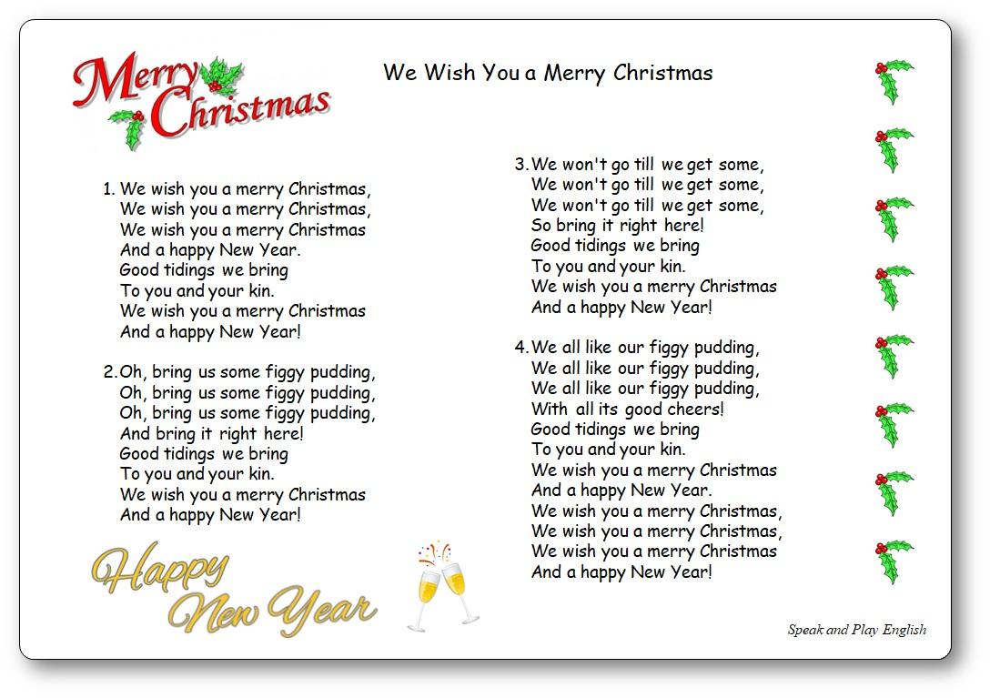 """Chanson """"we Wish You A Merry Christmas"""" - Paroles À Imprimer serapportantà Chanson A Imprimer"""