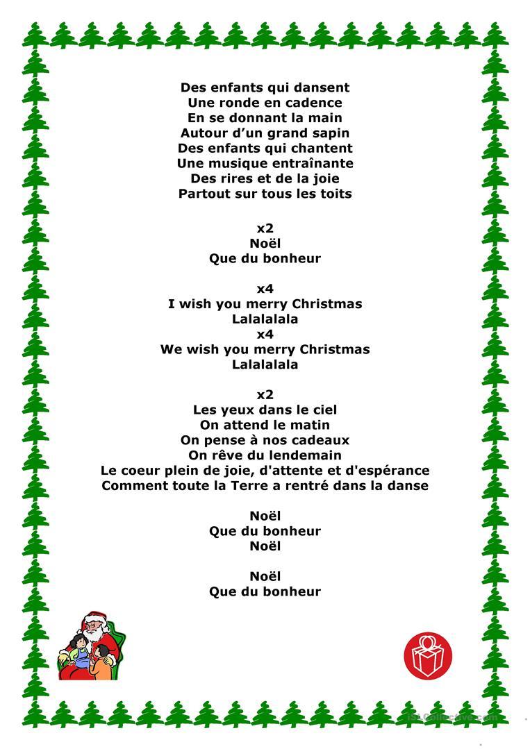 Chansons De Noel - Français Fle Fiches Pedagogiques dedans Chanson De Noel Ecrite