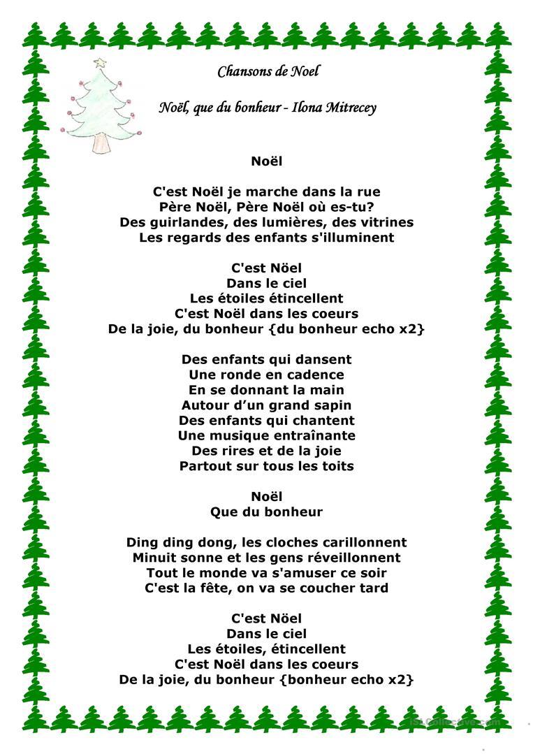 Chansons De Noel - Français Fle Fiches Pedagogiques destiné Chanson De Noel Ecrite