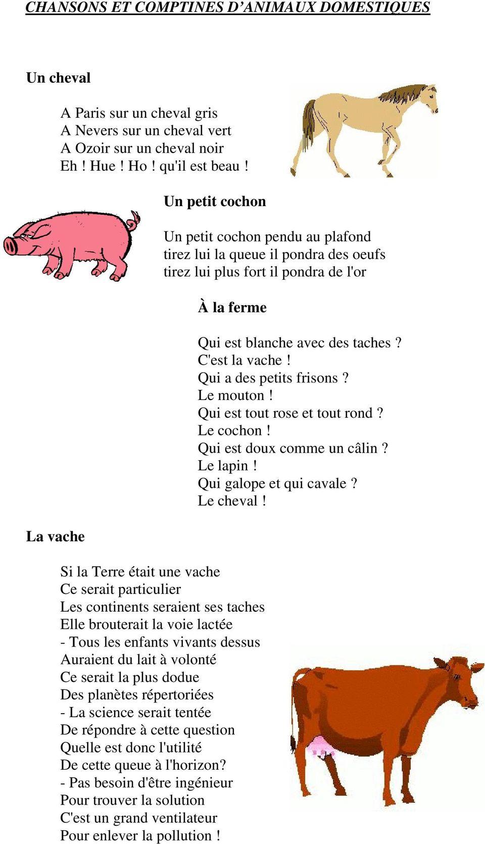 Chansons Et Comptines D Animaux Domestiques. Un Petit Cochon avec Chanson Pour Les Animaux