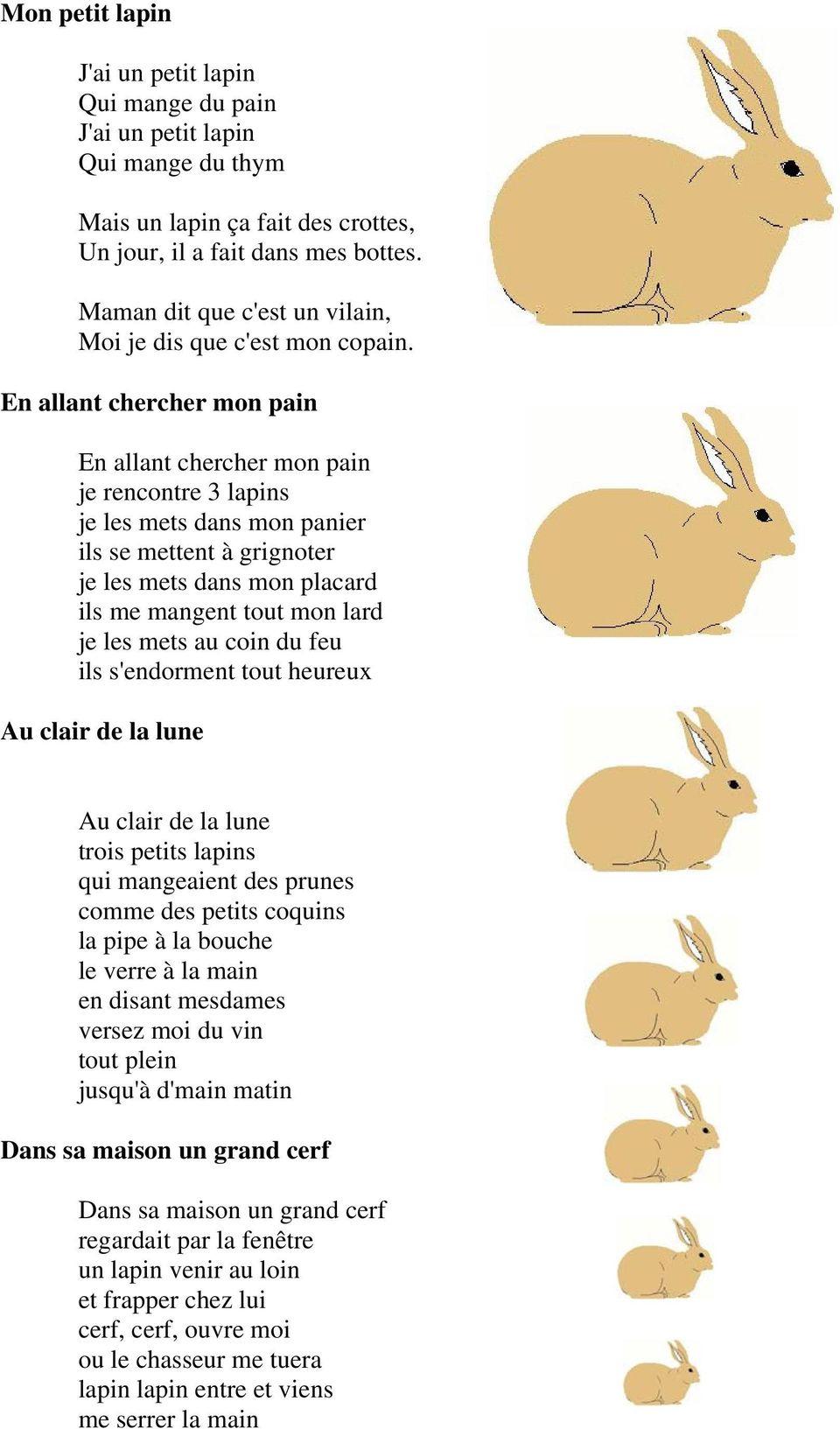 Chansons Et Comptines D Animaux Domestiques. Un Petit Cochon pour Chanson Du Cerf Et Du Lapin