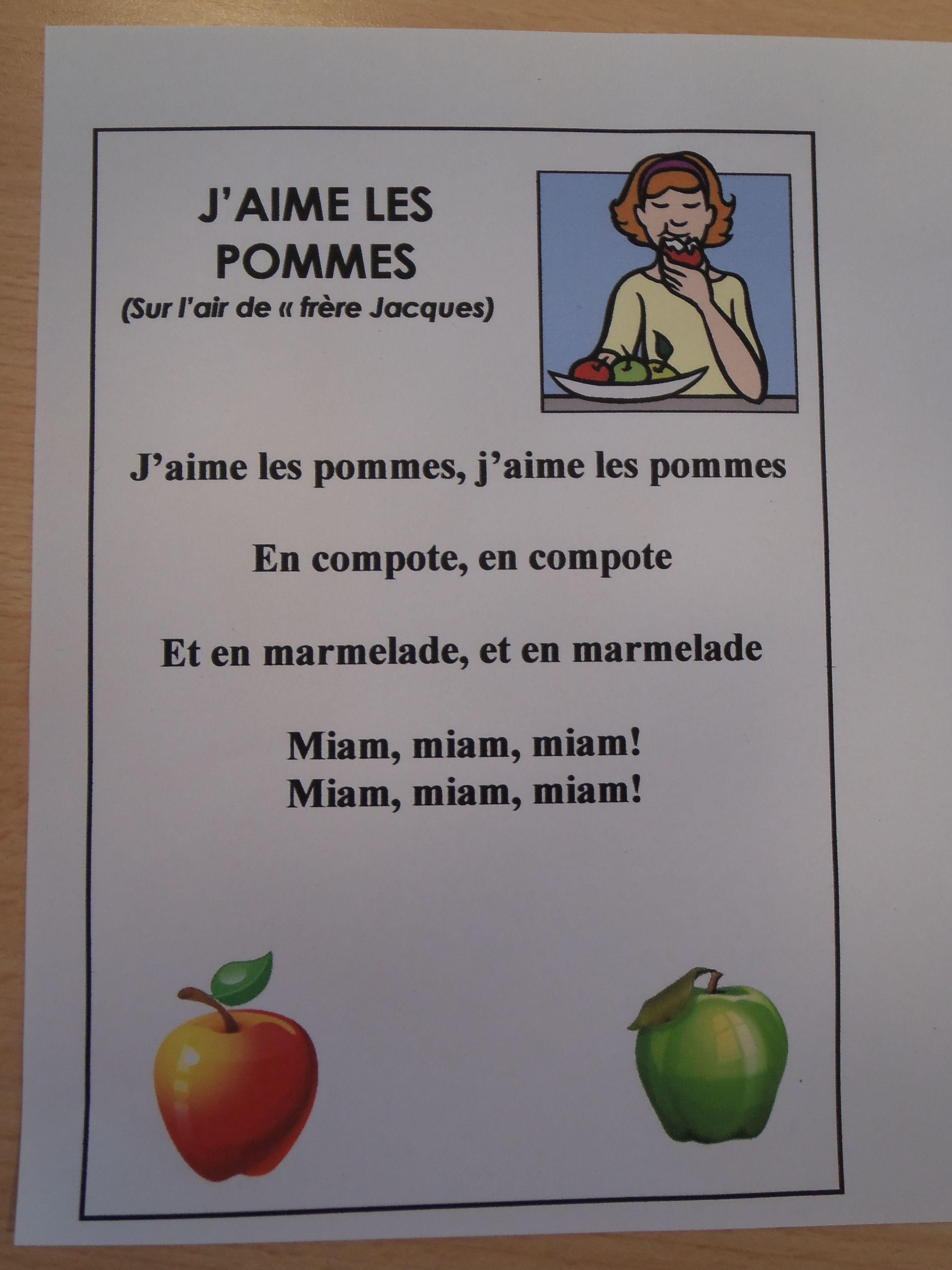 Chant: J'aime Les Pommes | Fruits Et Légumes, Comptines destiné Chanson Sur Les Fruits Et Légumes