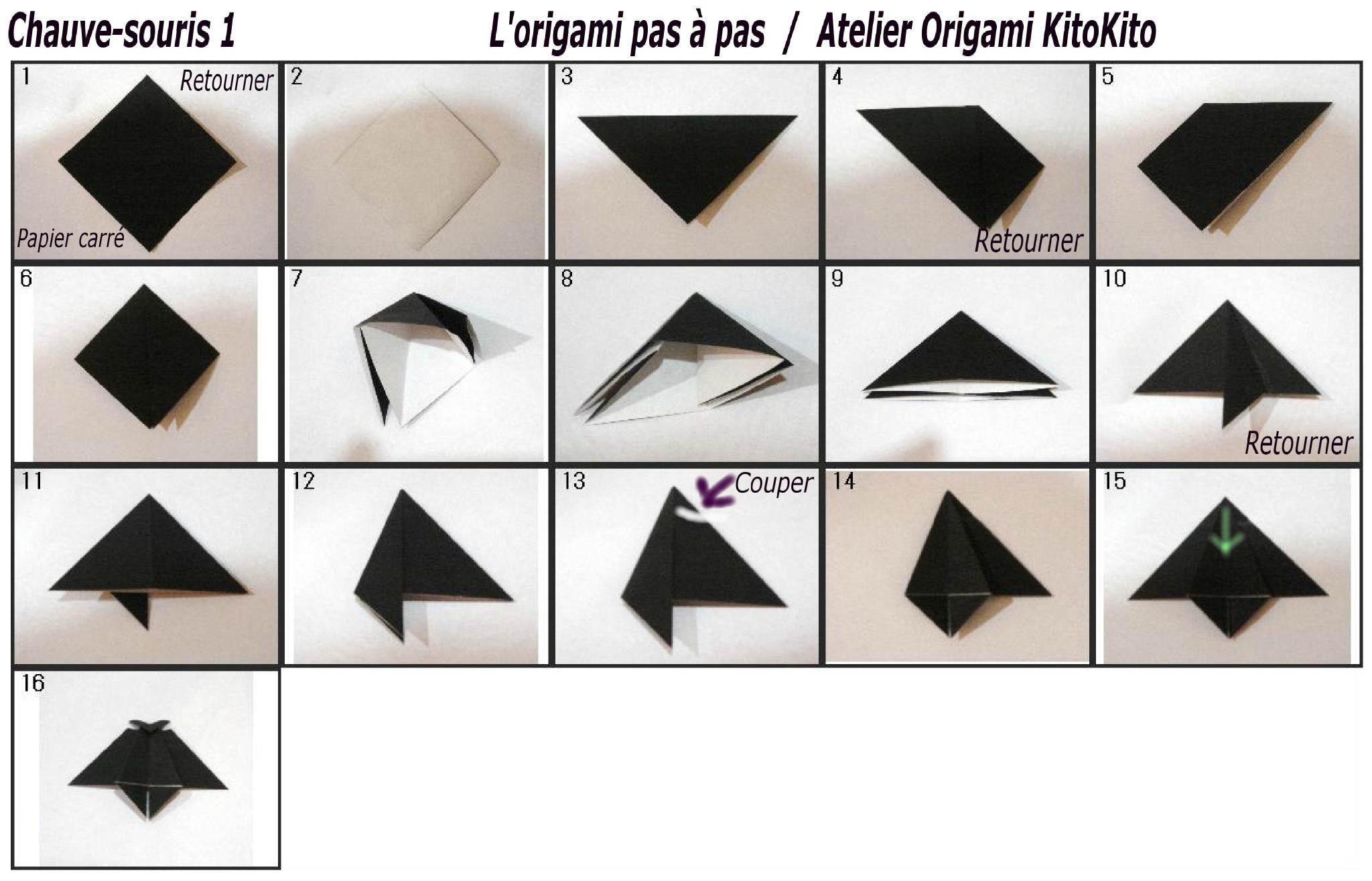 """Chauve-Souris 1 Pour """"halloween"""" - L'origami Pas À Pas serapportantà Origami Chauve Souris"""