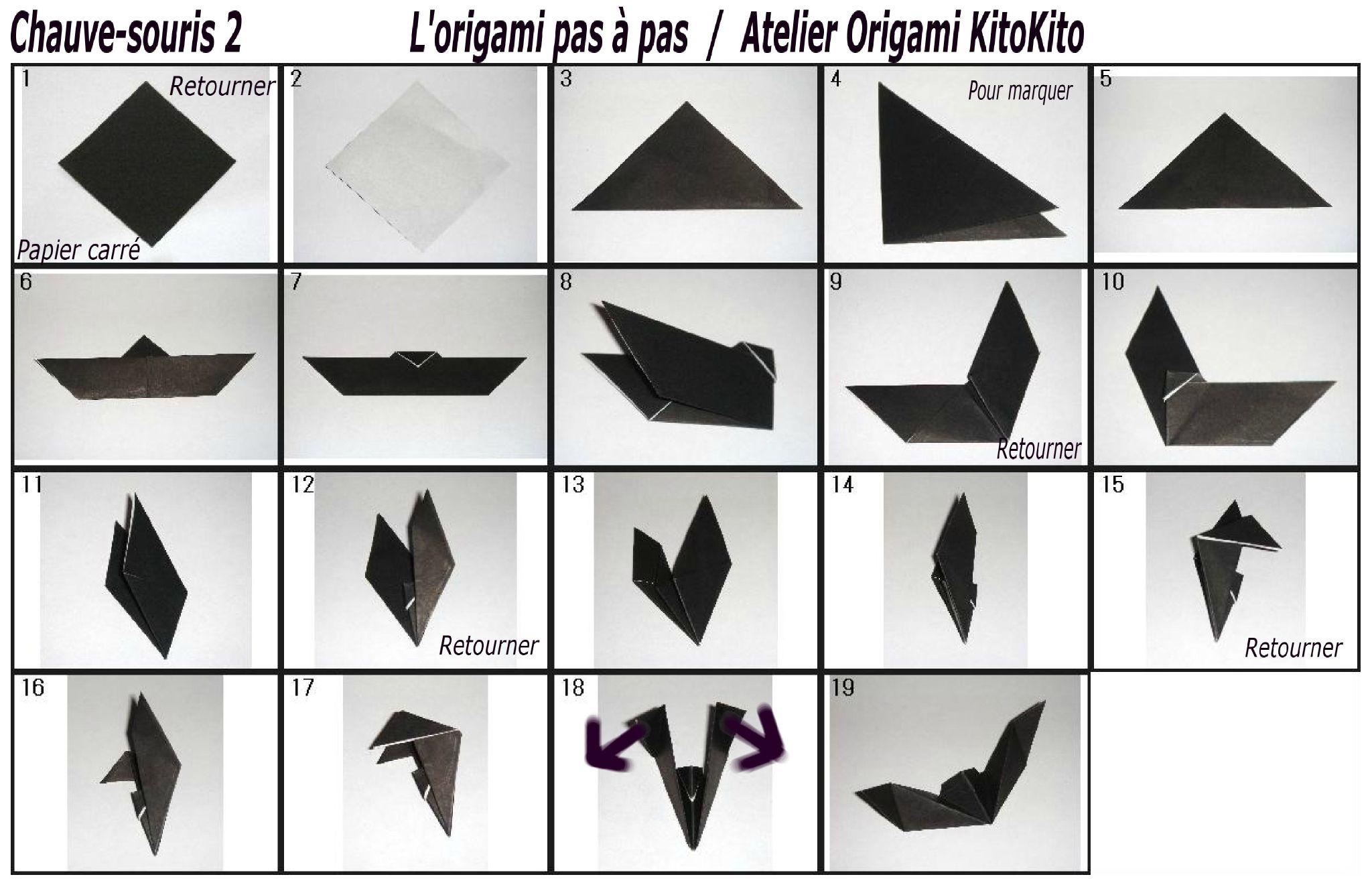 Chauve-Souris 2 Pour   Activité Manuelle Halloween, Chauve à Origami Chauve Souris