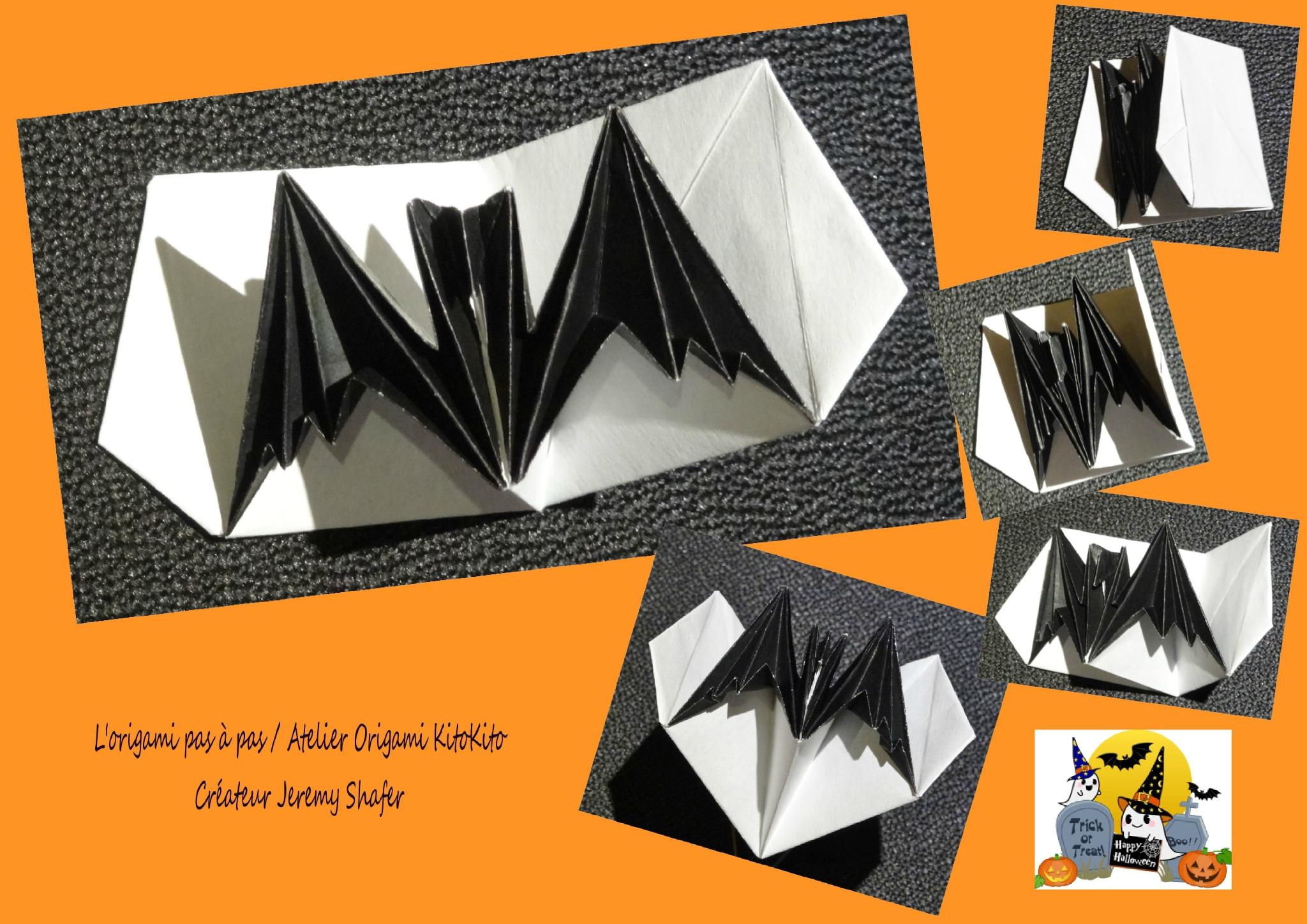 """Chauve-Souris Carte Pop-Up 1 Pour """"halloween"""" - L'origami avec Origami Chauve Souris"""