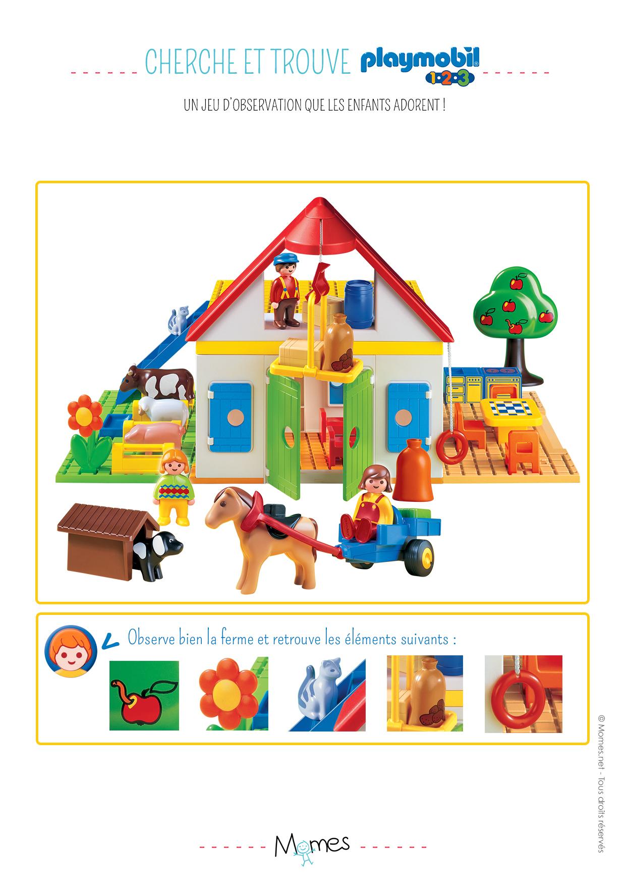 Cherche Et Trouve : La Ferme Playmobil 123 - Momes concernant Jeux De Concentration À Imprimer