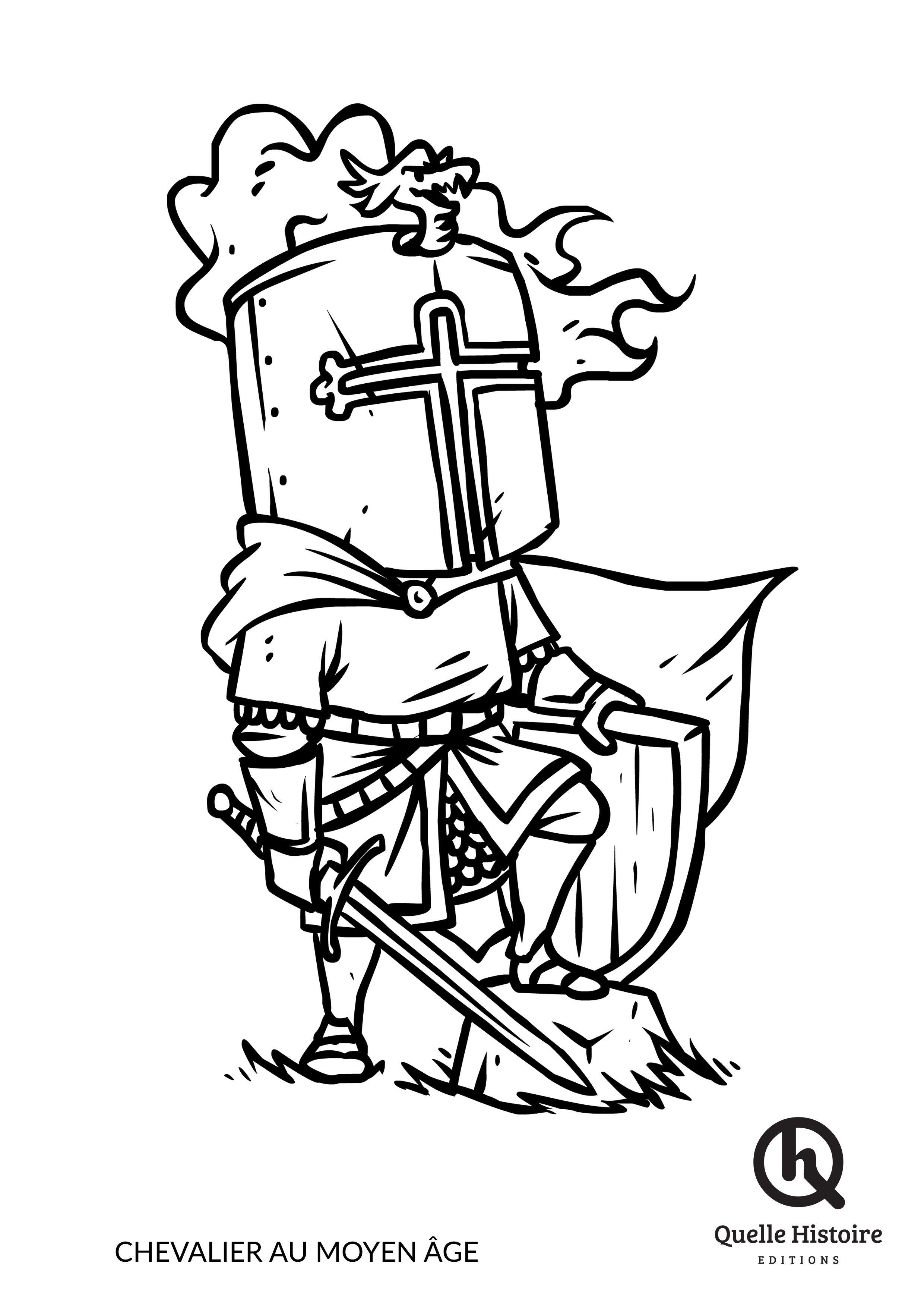 Chevalier Au Moyen Âge - Coloriage - Quelle Histoire pour Dessin Sur L Histoire
