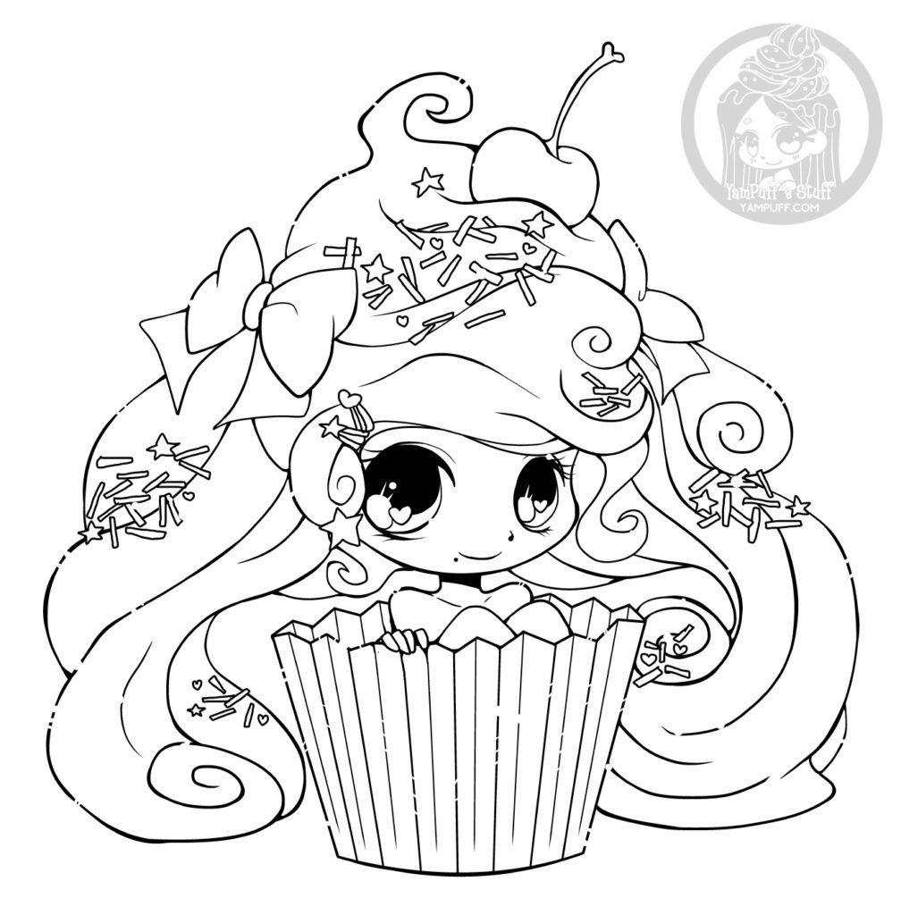 Chibi Cupcake Par Yampuff Coloriage Gratuit Imprimer avec Coloriage Manga Kawaii