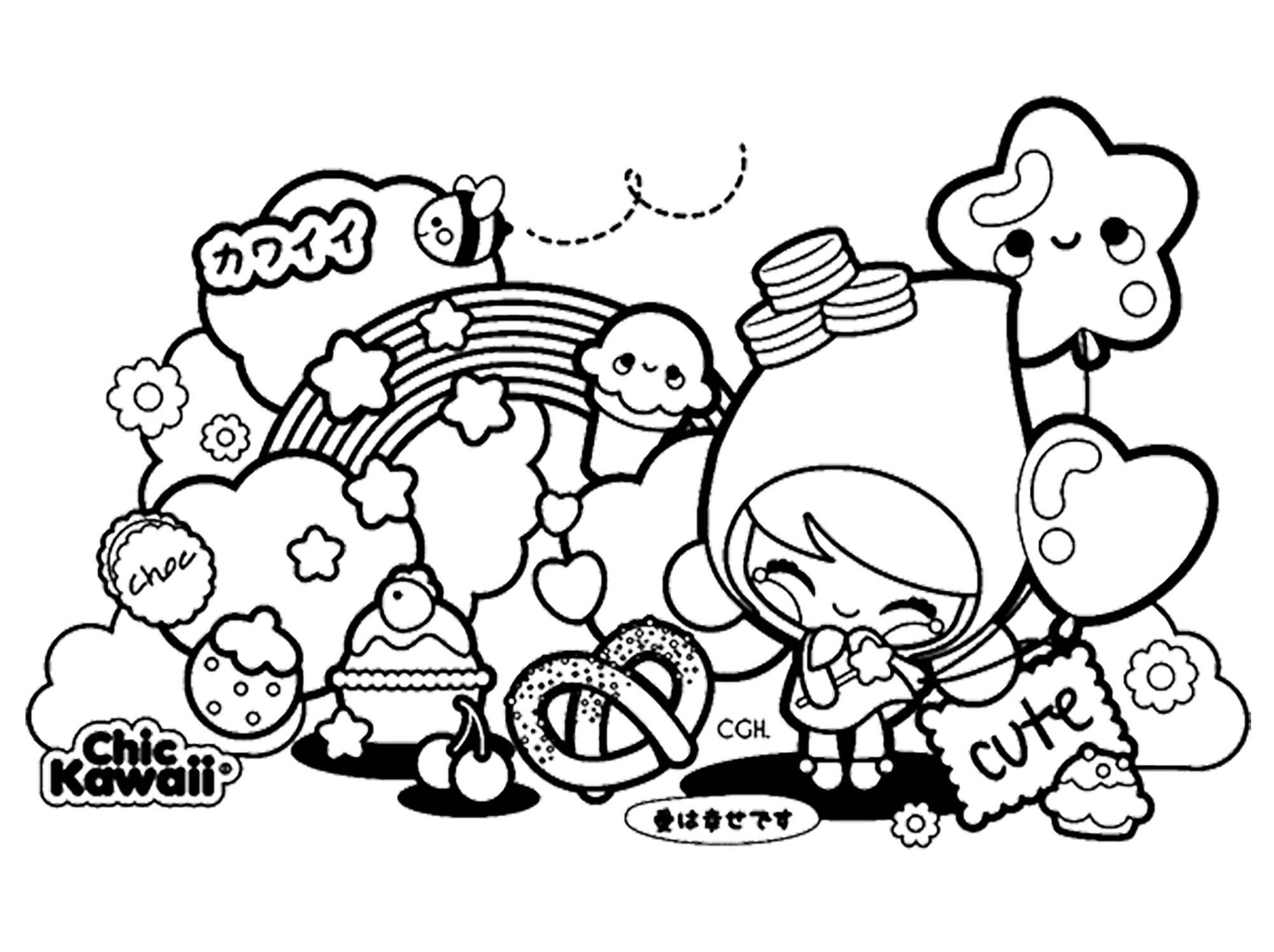 Chic Kawaii - Mangas / Animés - Coloriages Difficiles Pour avec Coloriage Manga Kawaii