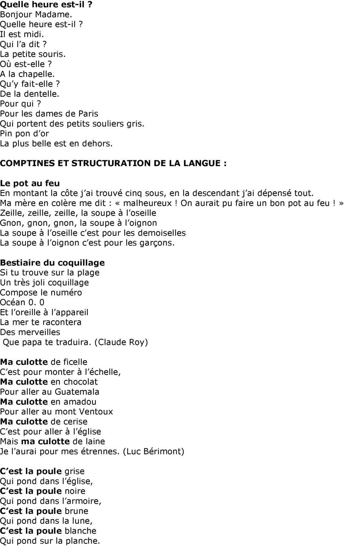 Choix De Comptines / Ap Mat Oct 11 - Pdf Téléchargement Gratuit à Comptine Bonjour Madame Lundi