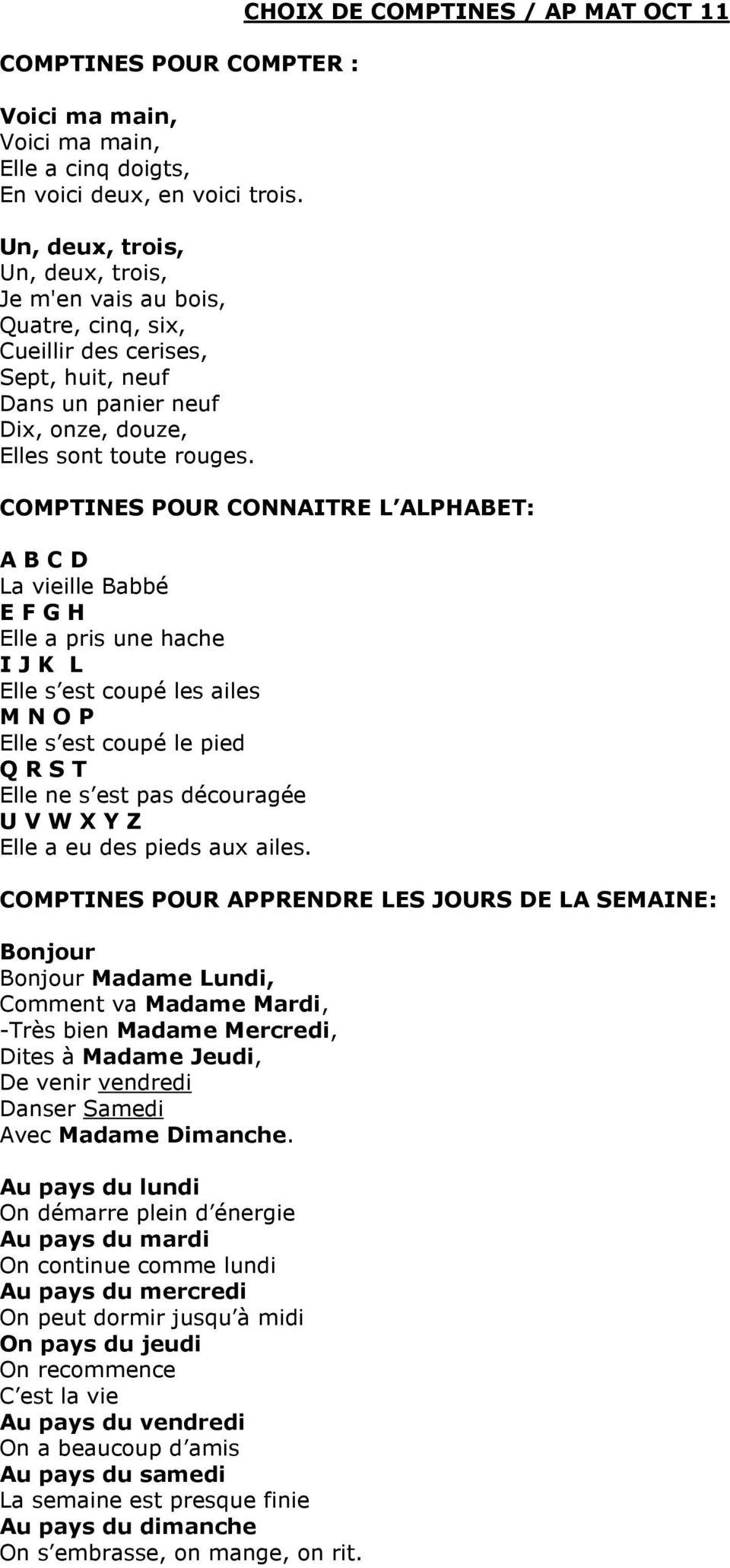 Choix De Comptines / Ap Mat Oct 11 - Pdf Téléchargement Gratuit tout Comptine Bonjour Madame Lundi