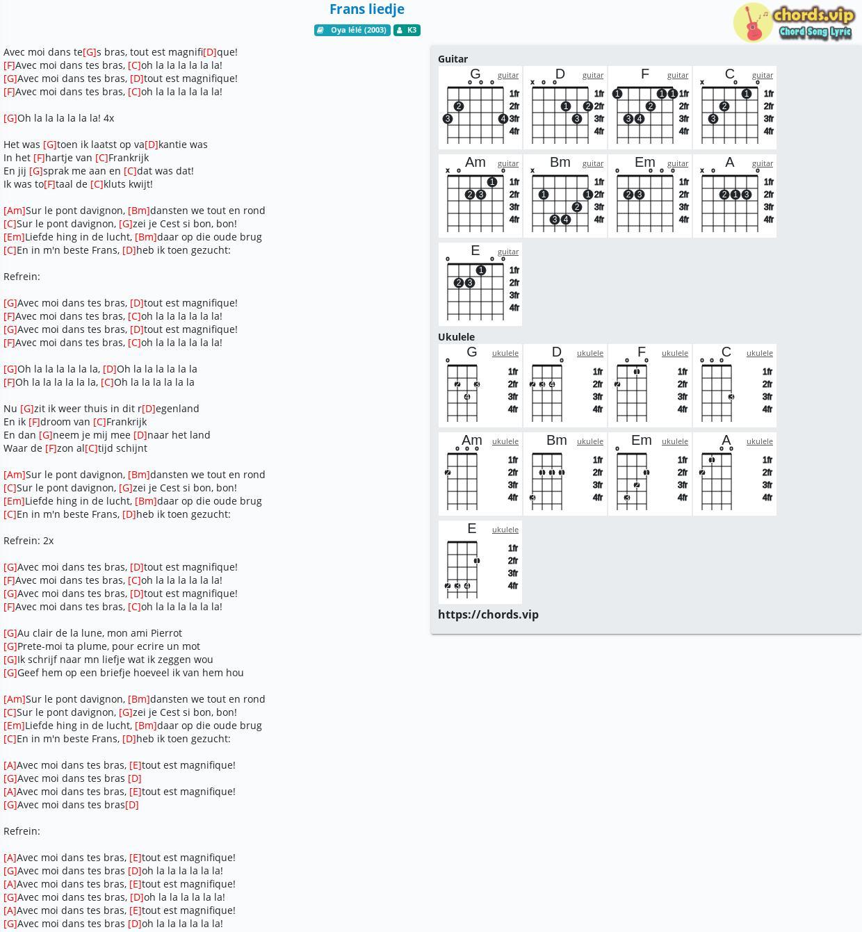 Chord: Frans Liedje - K3 - Tab, Song Lyric, Sheet, Guitar concernant Clair De La Lune Lyrics