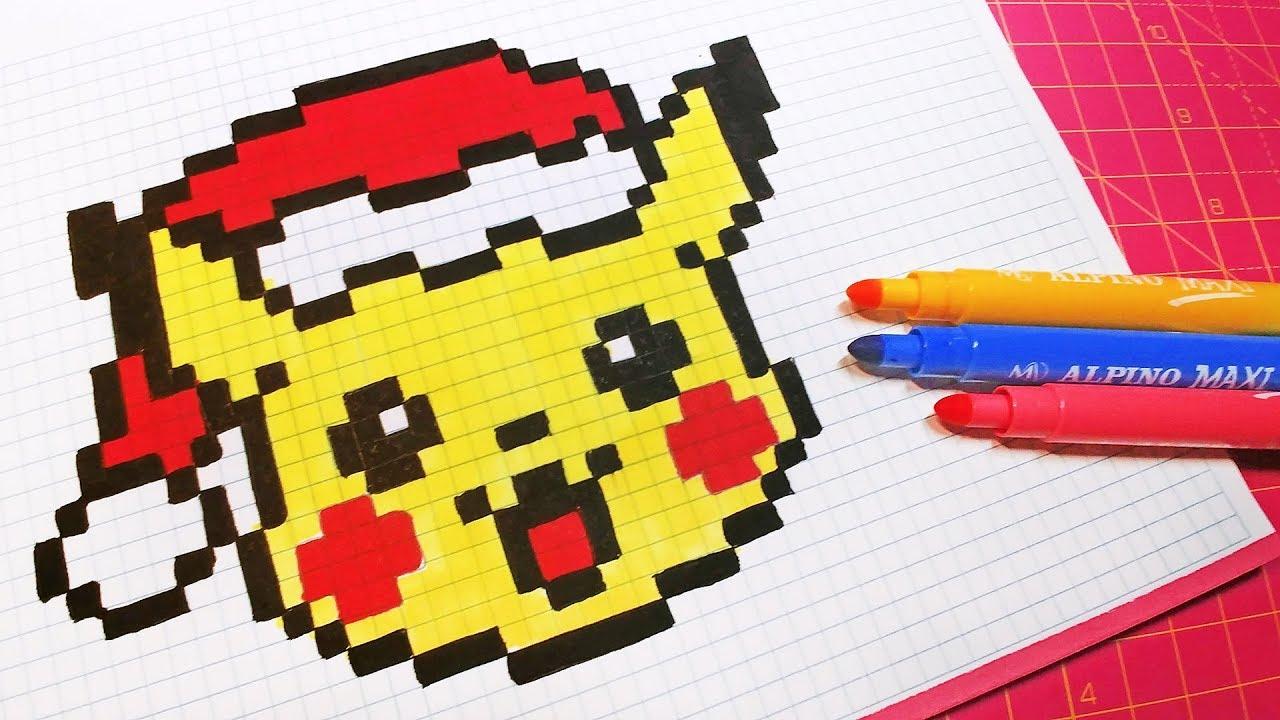 Christmas Pixel Art - How To Draw Santa Claus Pikachu #pixelart avec Pixel Art Pere Noel