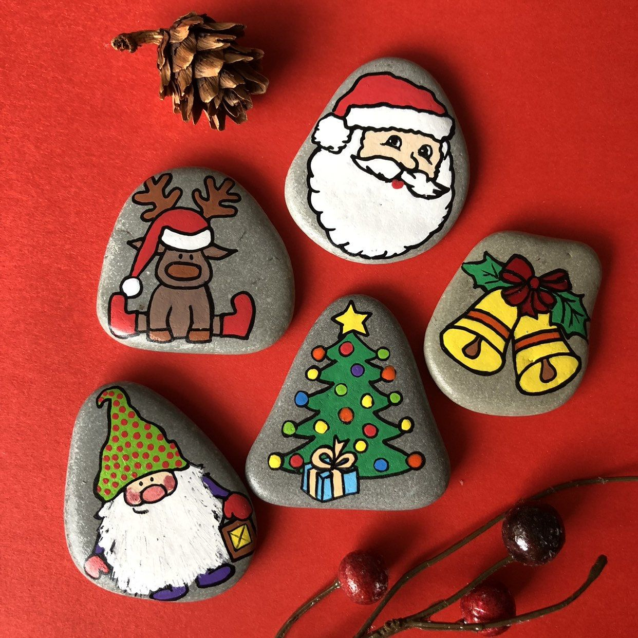 Christmas Story Stones, Mini Set Of 5, Christmas Gift For serapportantà Caillou Fete Noel