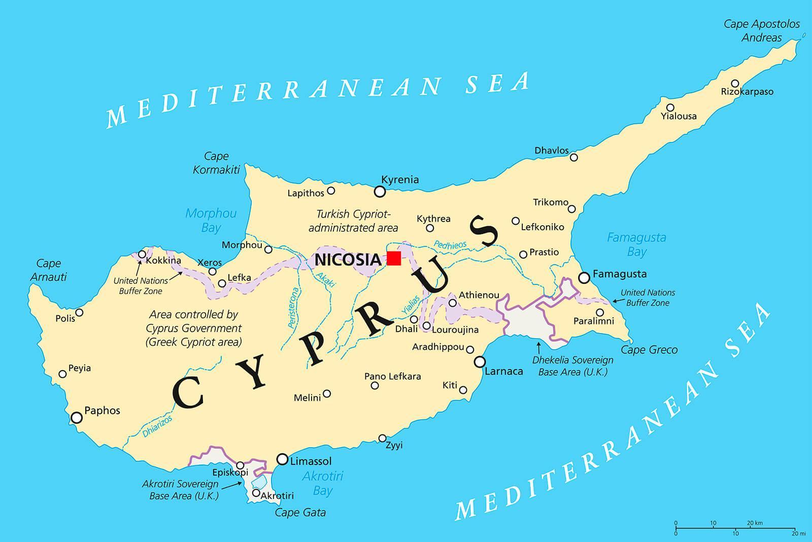 Chypre Capitale La Carte - Capitale De Chypre De La Carte à Carte Europe Capitale