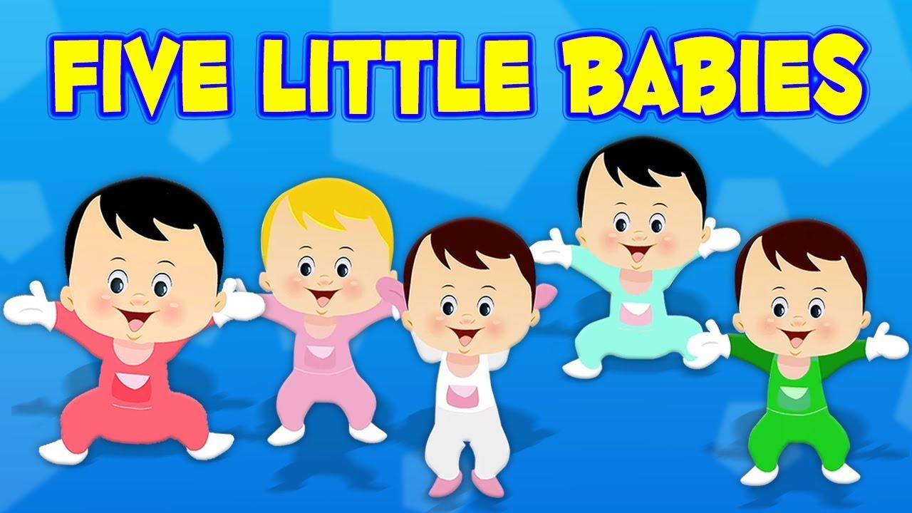 Cinq Petits Bébés | Chanson De Pépinière | Comptine Pour Enfants | Five  Little Babies | Kids Song pour Chanson Pour Bebe 1 An