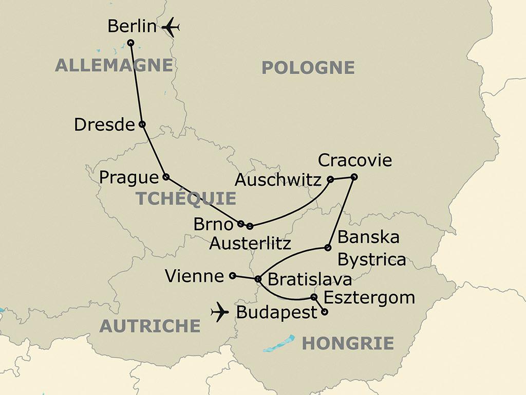 Circuit L'europe Centrale En Cinq Capitales - 12 Jours intérieur Carte Europe Capitale