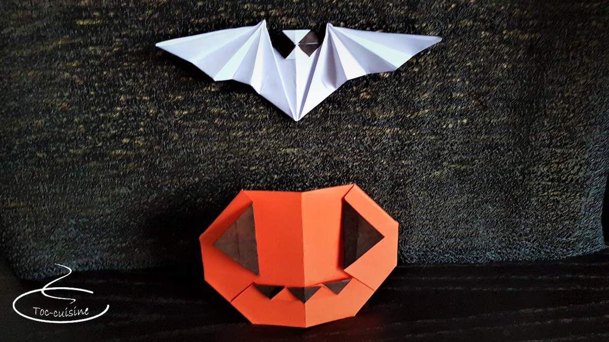 Citrouille Et Chauve-Souris D'halloween En Origami - Toc encequiconcerne Origami Chauve Souris
