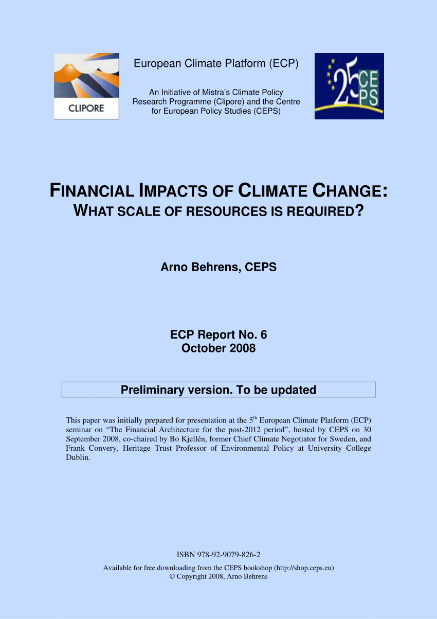Climate Change Commitments (Adaptation And Mitigation) By serapportantà Bo Programmes 2012