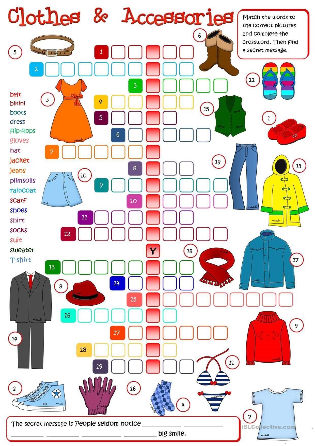 Clothes Crosswords 2   Apprendre L'anglais, Enseigner L pour Jeux En Anglais Gratuit