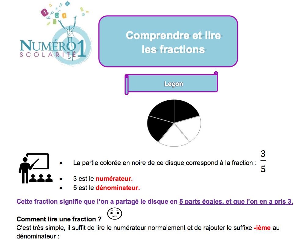 Cm2 Comprendre Et Lire Les Fractions Exercices Et Leçon tout Exercice Cm2 Gratuit