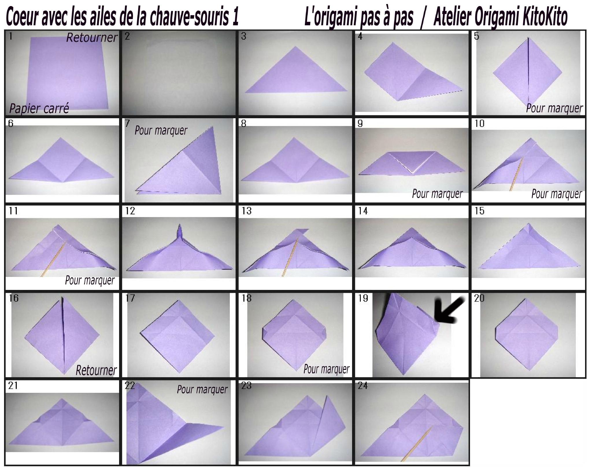 """Coeur Avec Les Ailes De La Chauve-Souris Pour """"halloween intérieur Origami Chauve Souris"""
