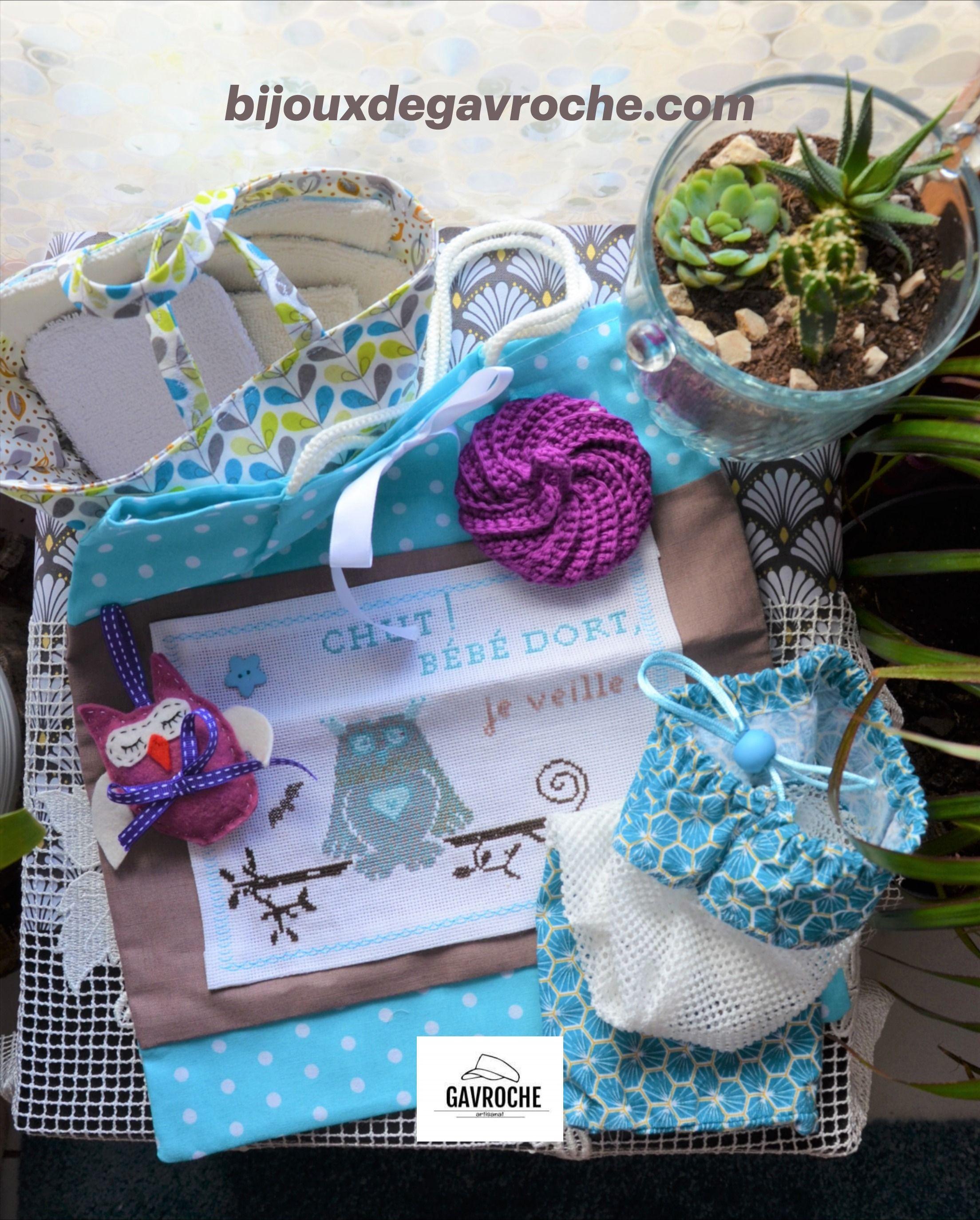 Coffret Naissance Baby Box: Lingettes Coton/bambou, Sac pour Image Chut Bébé Dort