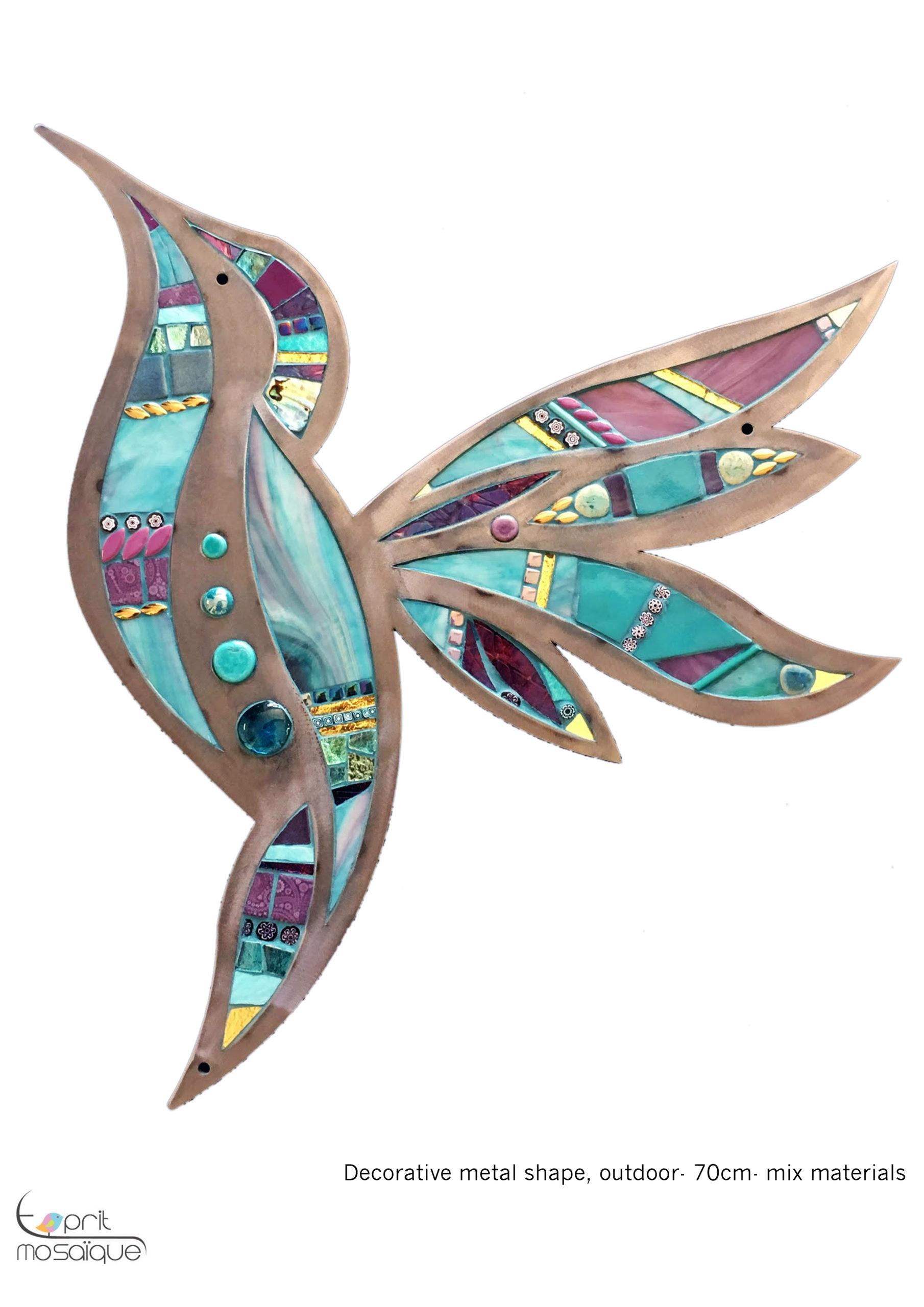 Colibri Sur Metal - Esprit Mosaique destiné Support Pour Mosaique