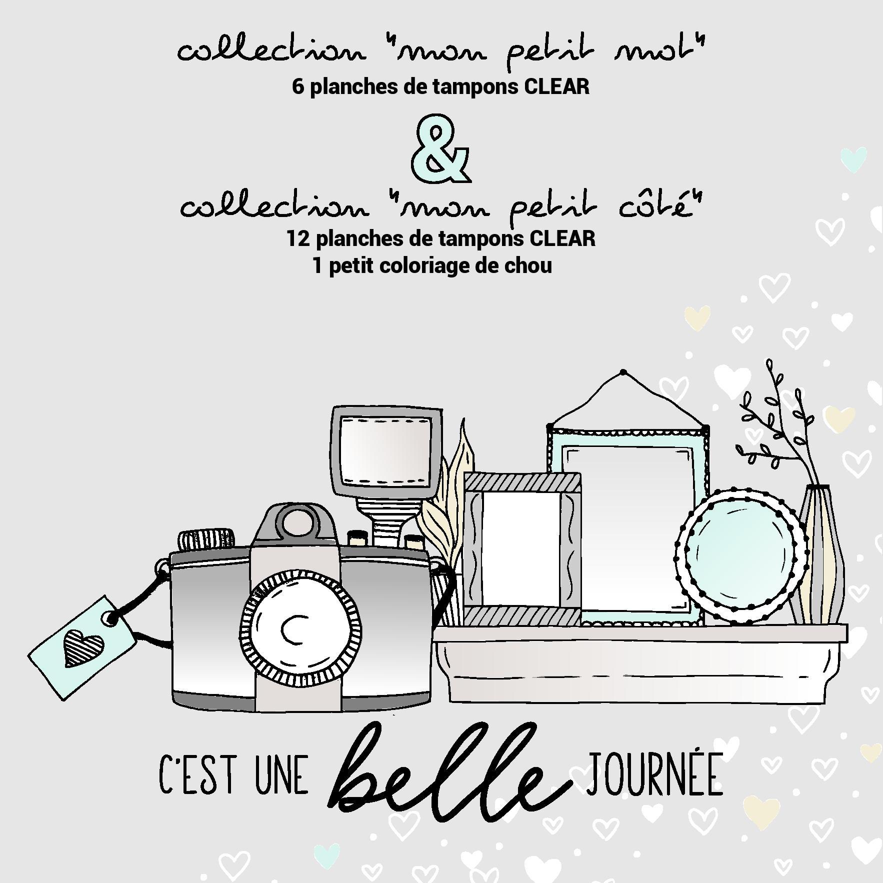 Collection Mon Petit Coté, Février 2019 (2) - Chou & Flowers avec Coloriage Février