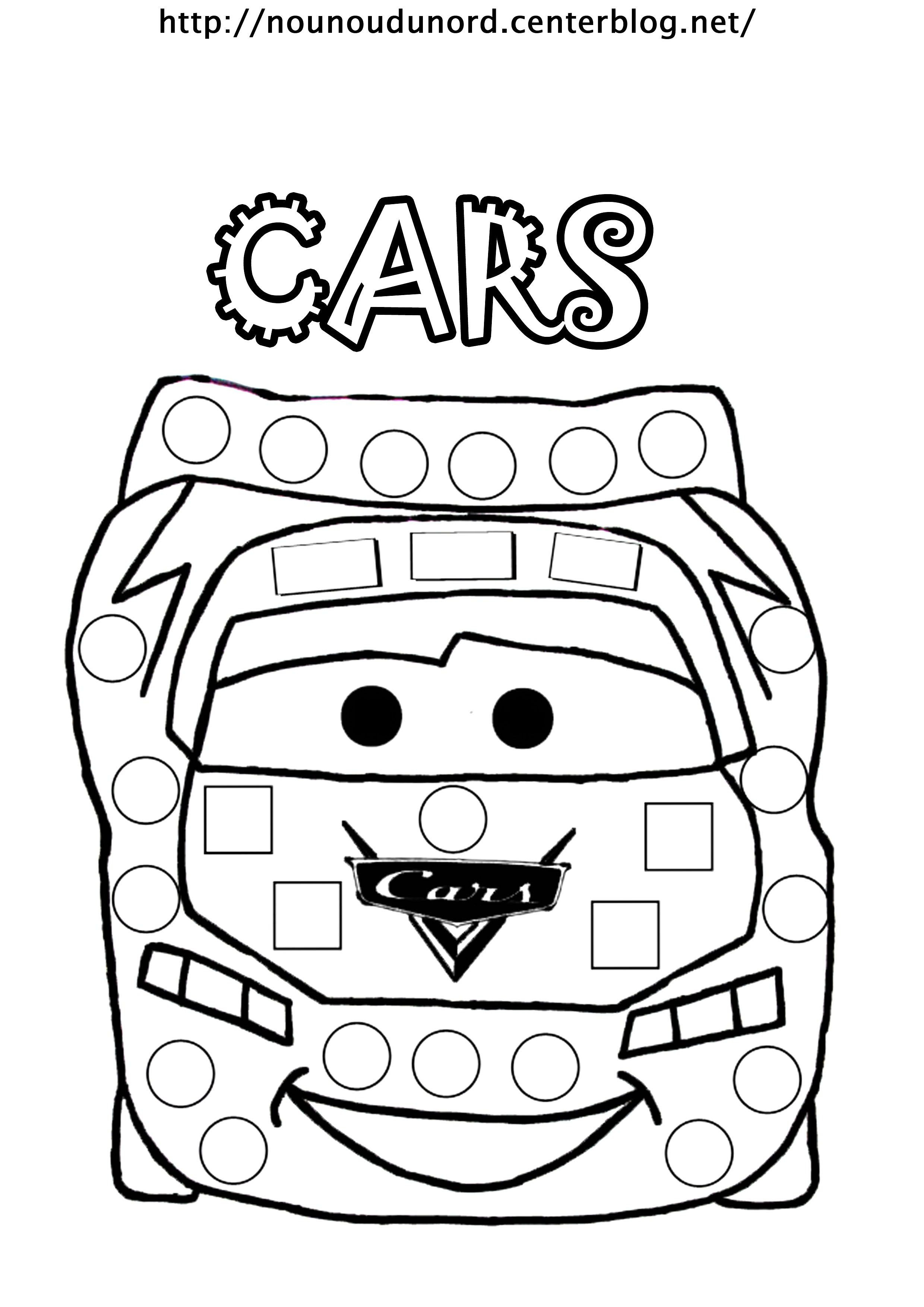 Coloriage À Gommettes Cars Dessiné Par Nounoudunord serapportantà Dessin A Imprimer Gratuit Cars