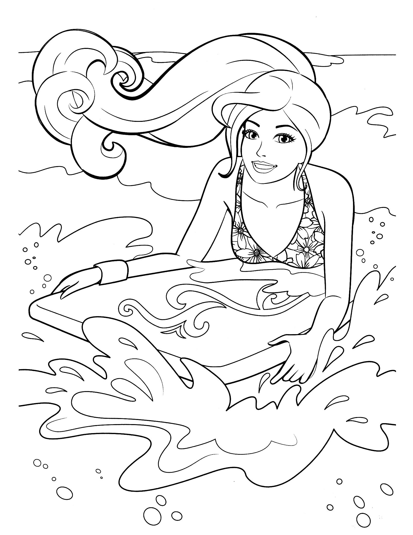 Coloriage Barbie Fait Du Surf À Imprimer Et Colorier destiné Dessin De Vague A Imprimer