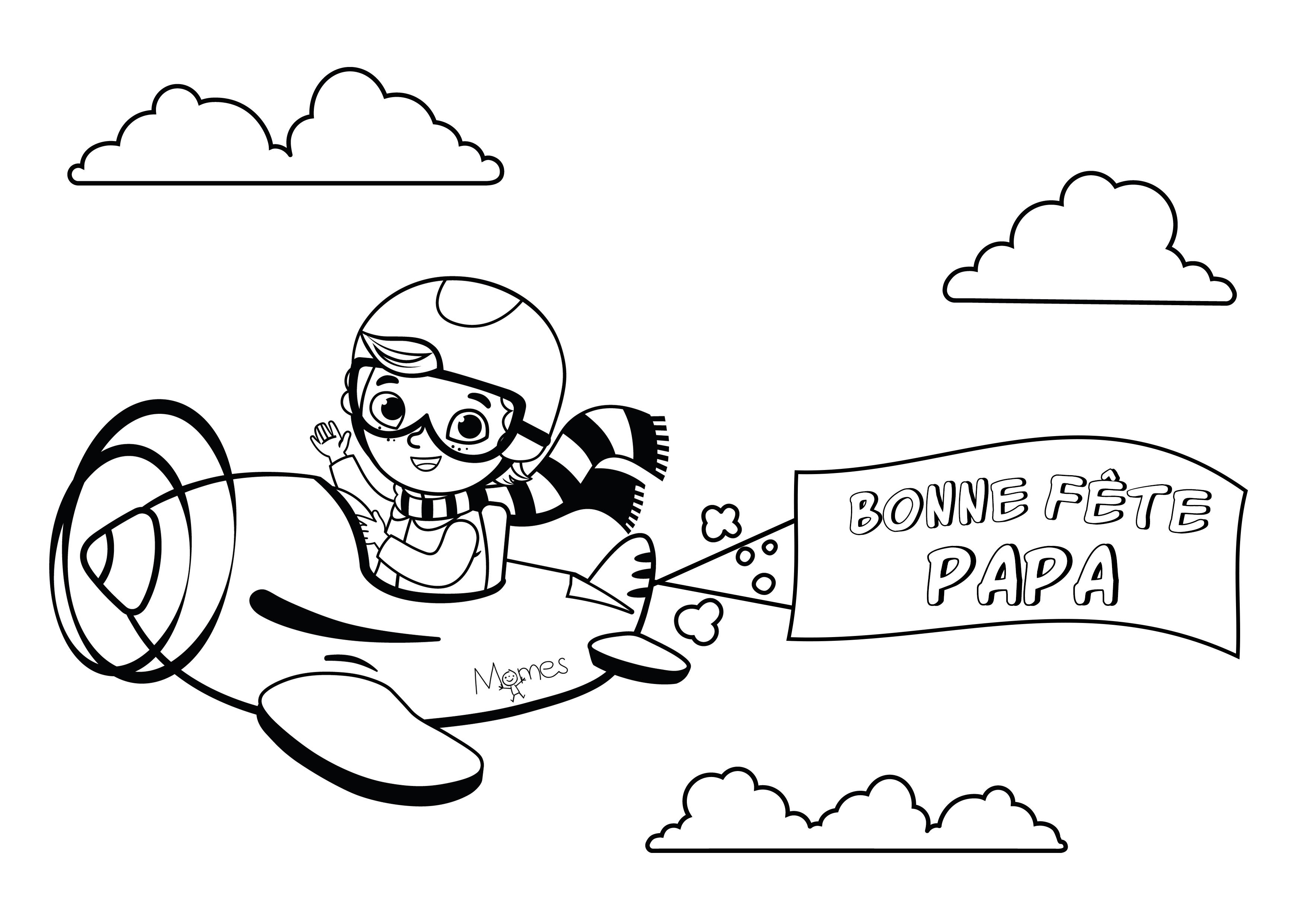 Coloriage Bonne Fête Papa ! - Momes pour Coloriage Fete Des Peres