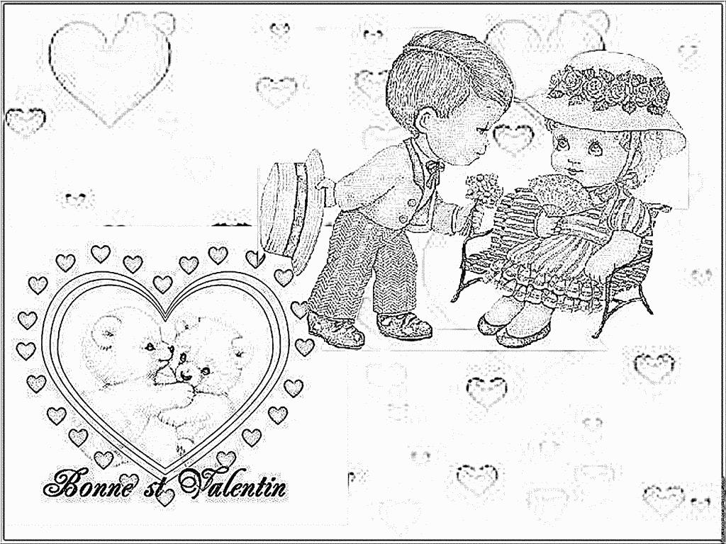 Coloriage Carte St Valentin 1 À Imprimer Pour Les Enfants intérieur Coloriage De St Valentin