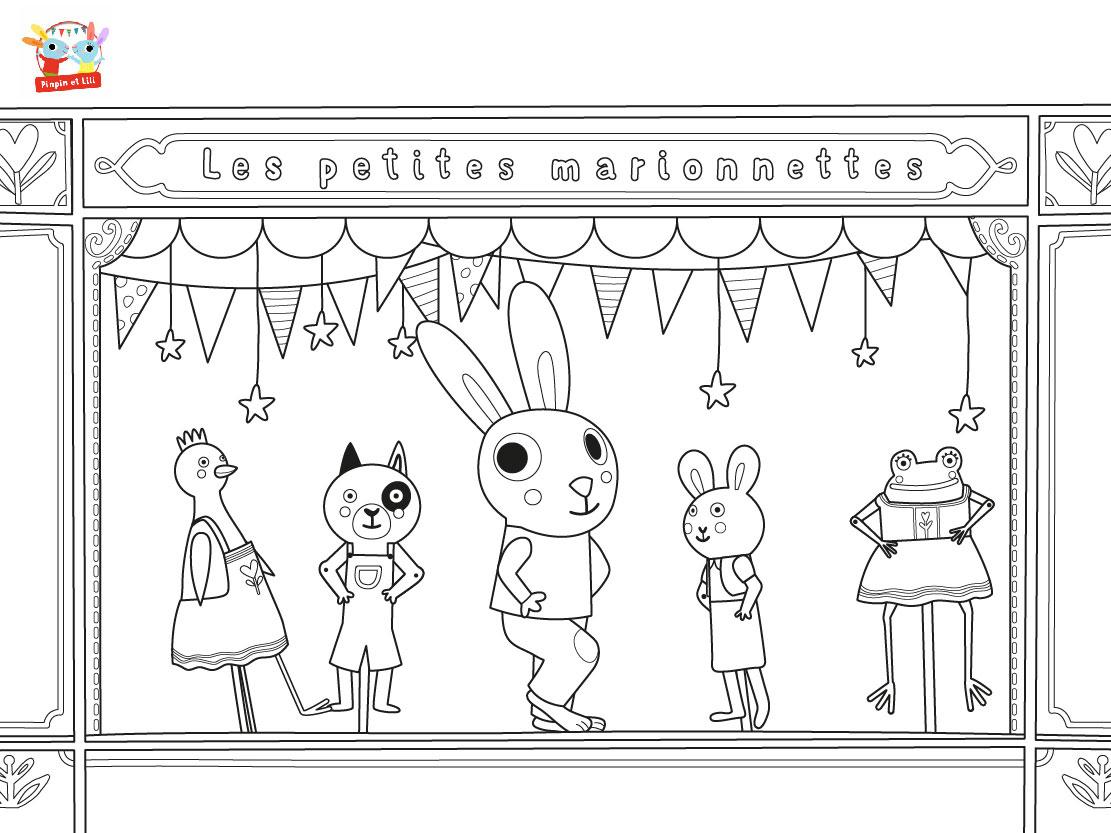 Coloriage Chanson - Ainsi Font Les Marionnettes Avec Pinpin à Les Petites Marionnettes Chanson