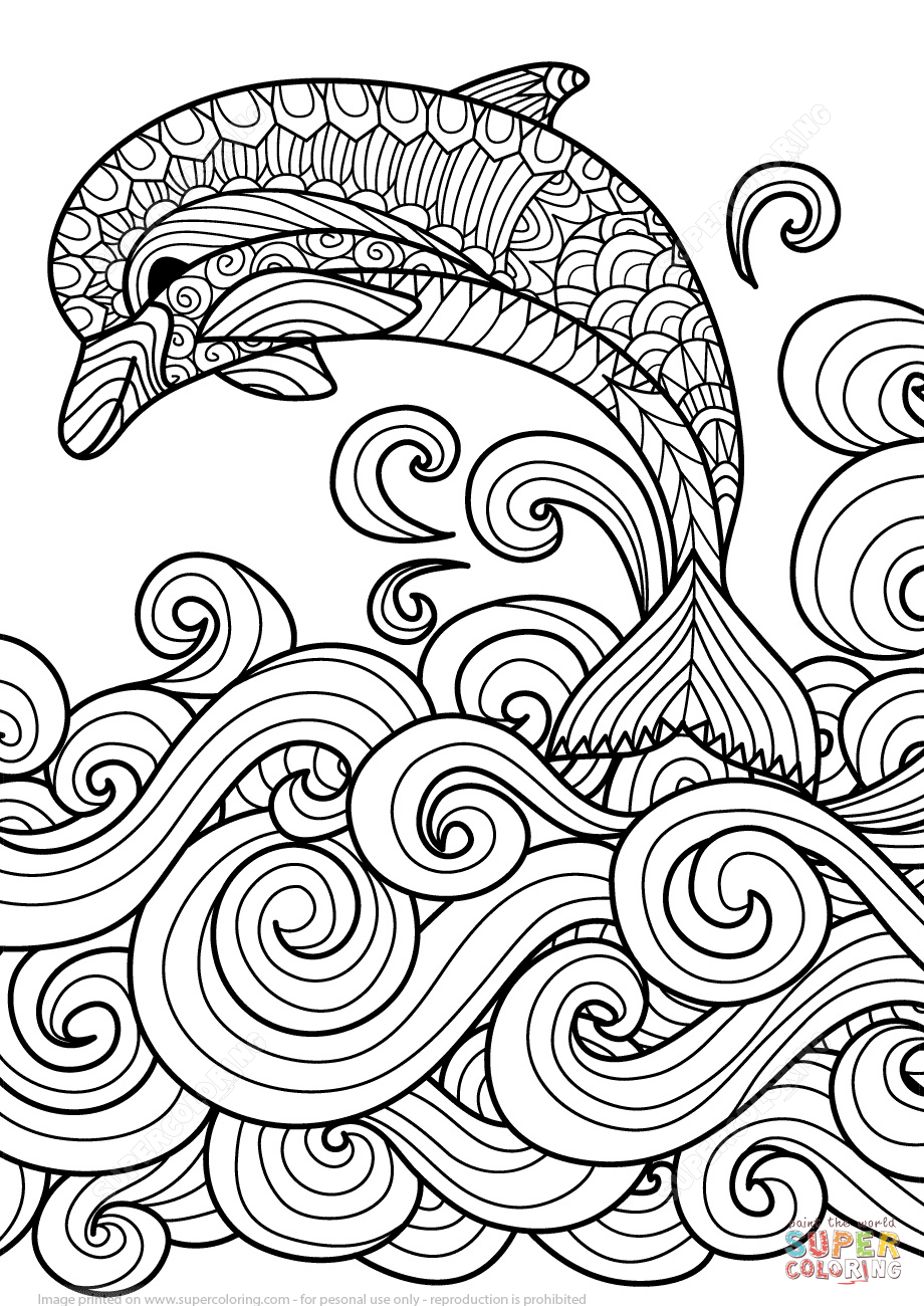 Coloriage - Dauphin Avec La Vague De Mer Défilant En encequiconcerne Dessin De Vague A Imprimer