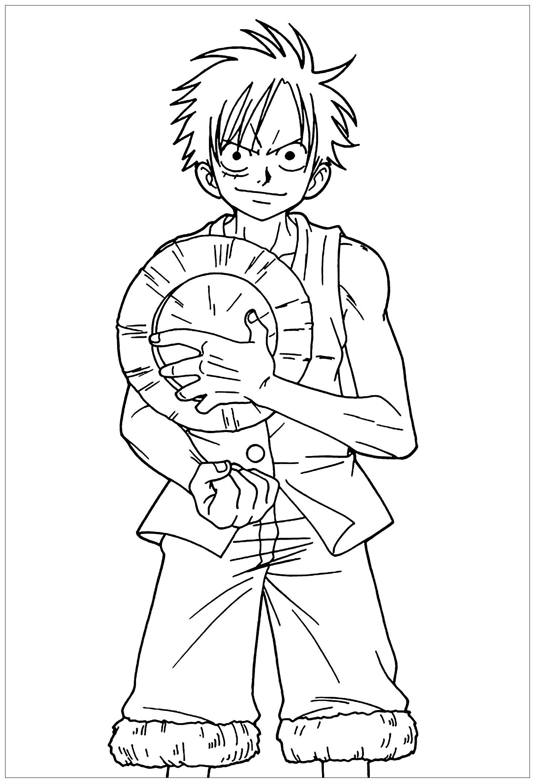 Coloriage De One Piece Pour Enfants - Coloriage One Piece concernant Coloriage Manga Kawaii