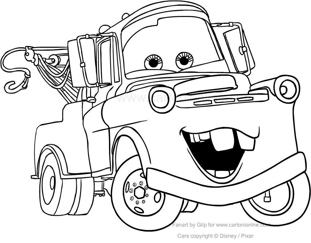 Coloriage De Tow Mater De Cars avec Dessin A Imprimer Gratuit Cars