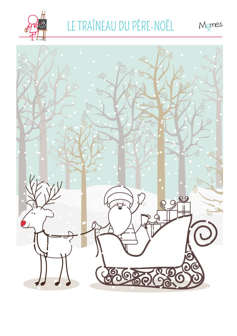 Coloriage Du Père Noël Et Son Traineau - Momes serapportantà Image Du Pere Noel Et Son Traineau