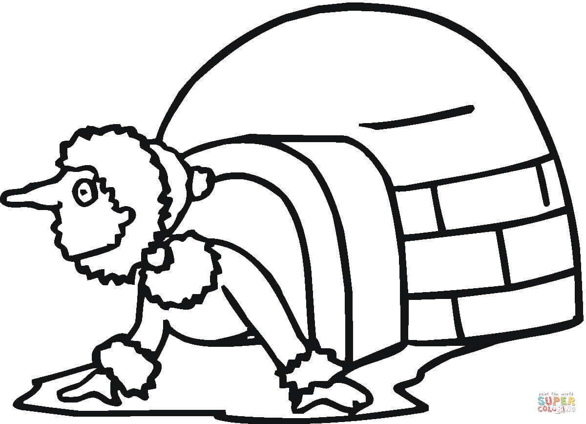 Coloriage - Esquimeau Qui Sort De Son Igloo | Coloriages À dedans Coloriage Igloo
