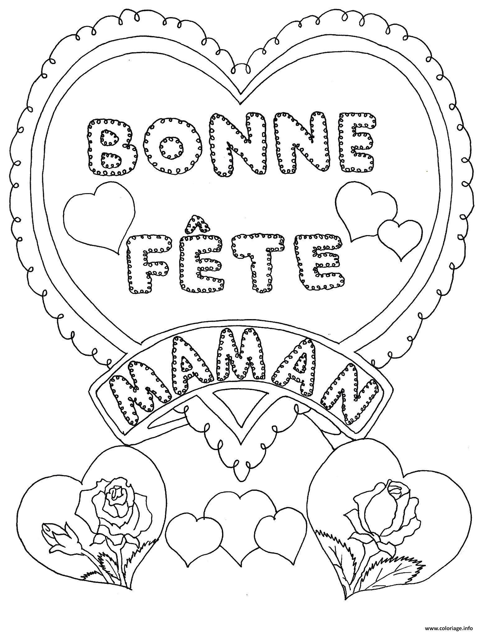 Coloriage Fete Des Meres Bonne Fete Maman Dessin À Imprimer dedans Carte Bonne Fete Maman A Imprimer