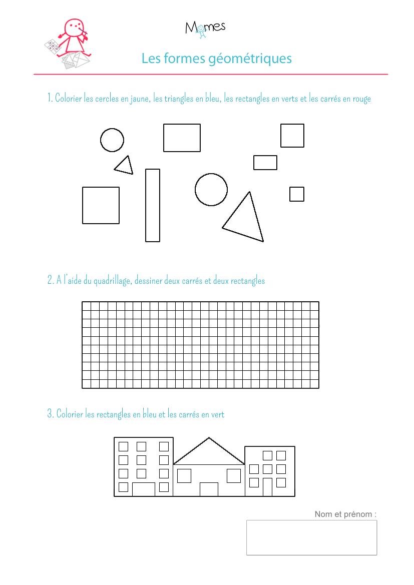 Coloriage Formes Géométriques: Exercice - Momes tout Fiche Géométrie Cp