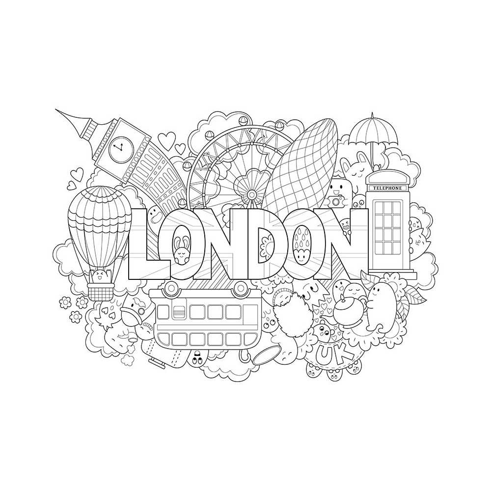 Coloriage Géant Enfant Londres, Monuments, Bus, Téléphone À serapportantà Coloriage Grande Roue