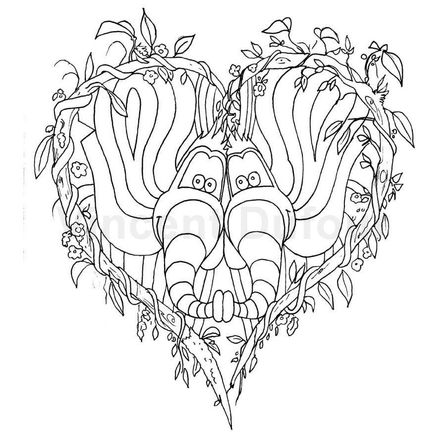 """Coloriage Gratuit Éléphant """"saint Valentin"""" [Dessin À tout Dessin Pour La Saint Valentin"""