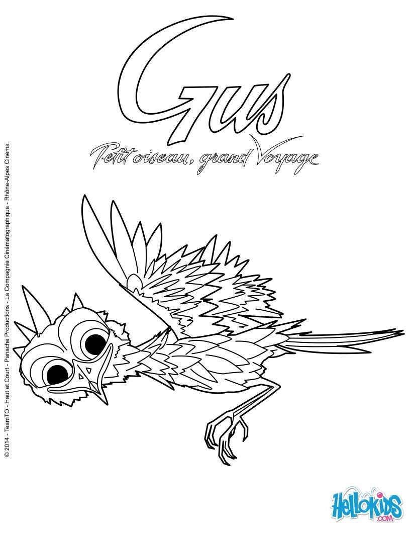 Coloriage Gus, Petit Oiseau, Grand Voyage - Coloriages intérieur Vol Petit Oiseau