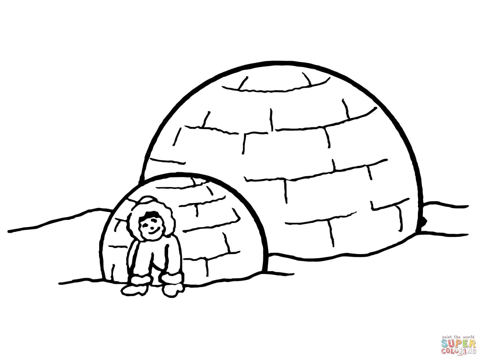 Coloriage - Igloo Inuit | Coloriages À Imprimer Gratuits concernant Coloriage Igloo