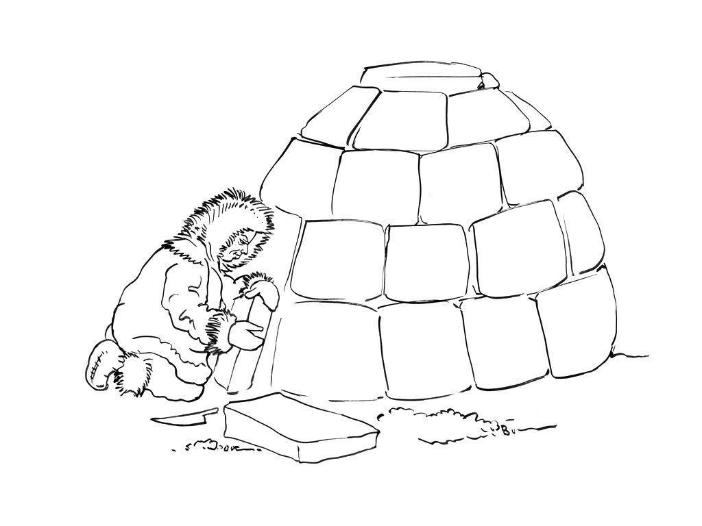 Coloriage Inuit 13 - Coloriage Inuits - Coloriages Personnages serapportantà Coloriage Igloo