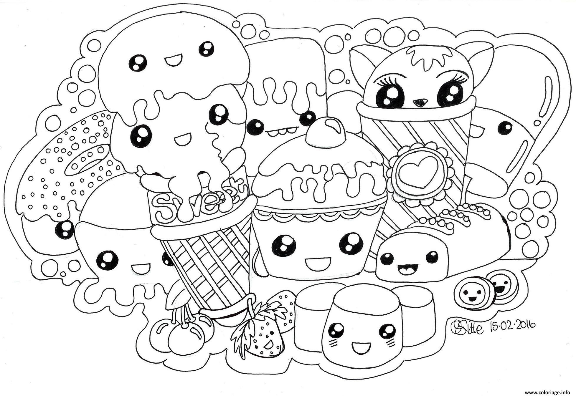 Coloriage Kawaii Sweets Colour Manga Cute Dessin À Imprimer pour Coloriage Manga Kawaii