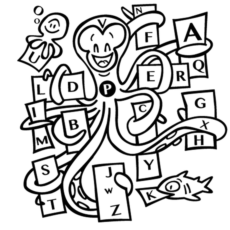 Coloriage La Pieuvre Et L'alphabet En Ligne Gratuit À Imprimer dedans Point À Relier Alphabet