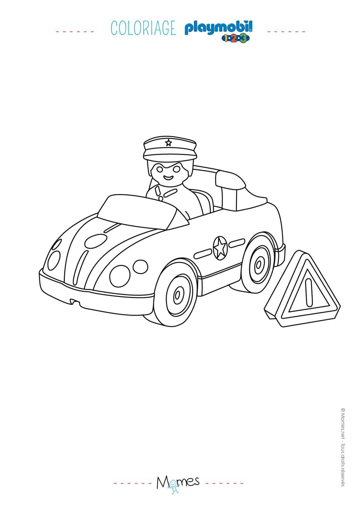 Coloriage La Voiture De Police Et Le Policier Playmobil 123 destiné Coloriage Vehicule